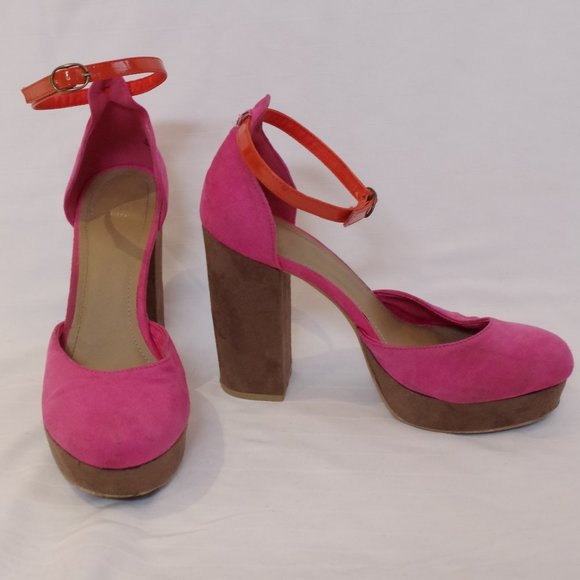 *3 For $25* H&M Pink & Brown Faux Suede Platforms